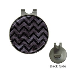 Chevron9 Black Marble & Black Watercolor (r) Hat Clips With Golf Markers by trendistuff