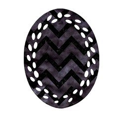 Chevron9 Black Marble & Black Watercolor (r) Oval Filigree Ornament (two Sides)
