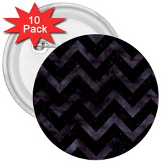 Chevron9 Black Marble & Black Watercolor 3  Buttons (10 Pack)  by trendistuff