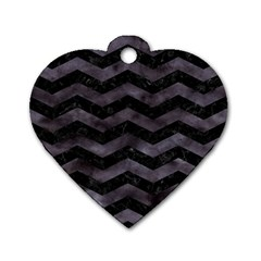 Chevron3 Black Marble & Black Watercolor Dog Tag Heart (one Side) by trendistuff