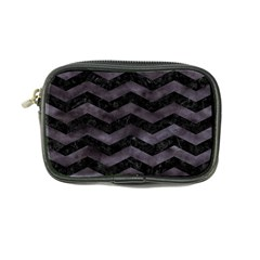 Chevron3 Black Marble & Black Watercolor Coin Purse by trendistuff