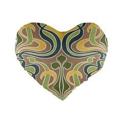 Art Nouveau Standard 16  Premium Flano Heart Shape Cushions by Love888