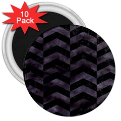 Chevron2 Black Marble & Black Watercolor 3  Magnets (10 Pack)  by trendistuff