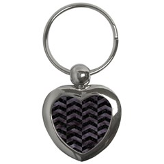Chevron2 Black Marble & Black Watercolor Key Chains (heart)