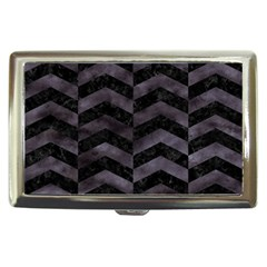 Chevron2 Black Marble & Black Watercolor Cigarette Money Cases by trendistuff