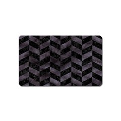 Chevron1 Black Marble & Black Watercolor Magnet (name Card) by trendistuff
