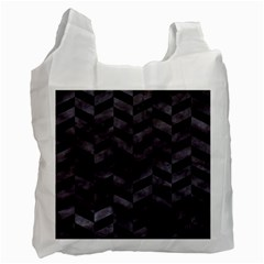 Chevron1 Black Marble & Black Watercolor Recycle Bag (one Side) by trendistuff