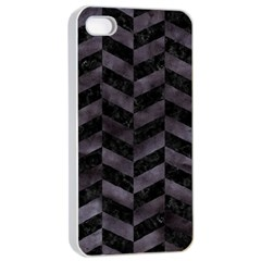 Chevron1 Black Marble & Black Watercolor Apple Iphone 4/4s Seamless Case (white) by trendistuff