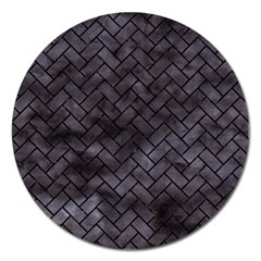 Brick2 Black Marble & Black Watercolor (r) Magnet 5  (round) by trendistuff