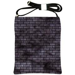 Brick1 Black Marble & Black Watercolor (r) Shoulder Sling Bags by trendistuff