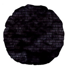 Brick1 Black Marble & Black Watercolor (r) Large 18  Premium Flano Round Cushions by trendistuff