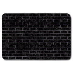 Brick1 Black Marble & Black Watercolor Large Doormat  by trendistuff