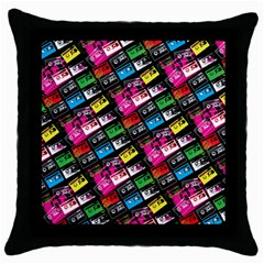 Pattern Colorfulcassettes Icreate Throw Pillow Case (black)