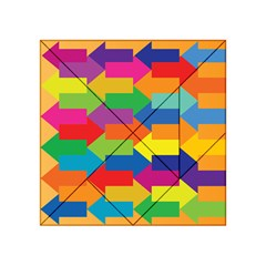Arrow Rainbow Orange Blue Yellow Red Purple Green Acrylic Tangram Puzzle (4  X 4 ) by Mariart