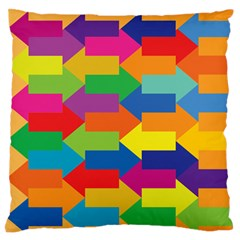 Arrow Rainbow Orange Blue Yellow Red Purple Green Large Flano Cushion Case (one Side) by Mariart
