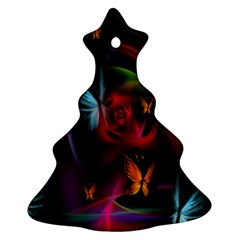 Beautiful Butterflies Rainbow Space Christmas Tree Ornament (two Sides) by Mariart