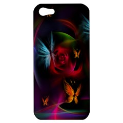 Beautiful Butterflies Rainbow Space Apple Iphone 5 Hardshell Case by Mariart