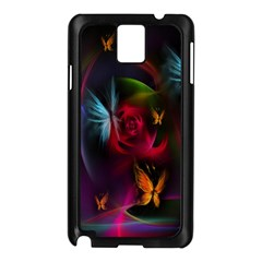 Beautiful Butterflies Rainbow Space Samsung Galaxy Note 3 N9005 Case (black) by Mariart