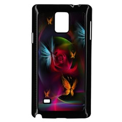 Beautiful Butterflies Rainbow Space Samsung Galaxy Note 4 Case (black) by Mariart