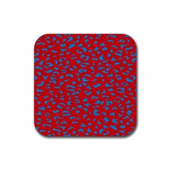 Blue Red Space Galaxy Rubber Square Coaster (4 Pack)  by Mariart