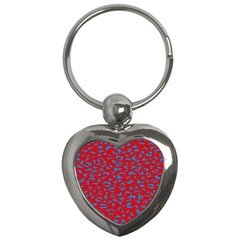 Blue Red Space Galaxy Key Chains (heart)  by Mariart