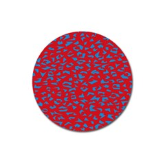 Blue Red Space Galaxy Magnet 3  (round) by Mariart