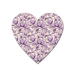 Vegetable Cabbage Purple Flower Heart Magnet by Mariart