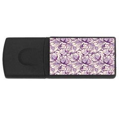 Vegetable Cabbage Purple Flower Rectangular Usb Flash Drive by Mariart
