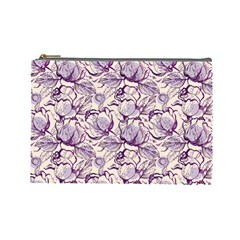 Vegetable Cabbage Purple Flower Cosmetic Bag (large)  by Mariart
