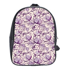 Vegetable Cabbage Purple Flower School Bag (large) by Mariart