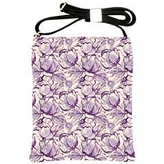 Vegetable Cabbage Purple Flower Shoulder Sling Bags by Mariart