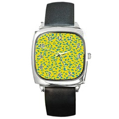 Blue Yellow Space Galaxy Square Metal Watch by Mariart