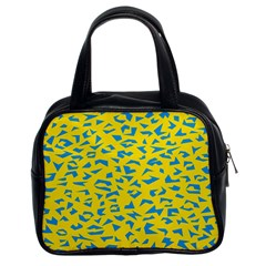 Blue Yellow Space Galaxy Classic Handbags (2 Sides) by Mariart