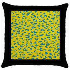 Blue Yellow Space Galaxy Throw Pillow Case (black) by Mariart