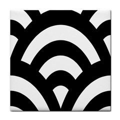 Circle White Black Tile Coasters by Mariart