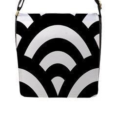 Circle White Black Flap Messenger Bag (l)  by Mariart