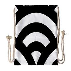 Circle White Black Drawstring Bag (large) by Mariart