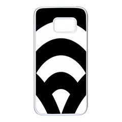 Circle White Black Samsung Galaxy S7 White Seamless Case by Mariart