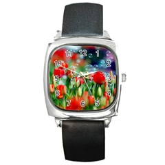 Colorful Flowers Square Metal Watch by Mariart