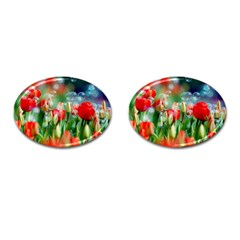 Colorful Flowers Cufflinks (oval) by Mariart
