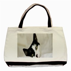 Cat Face Cute Black White Animals Basic Tote Bag by Mariart
