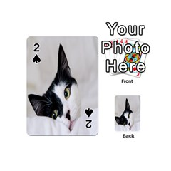 Cat Face Cute Black White Animals Playing Cards 54 (mini)  by Mariart