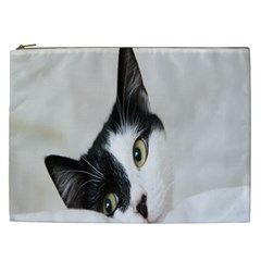 Cat Face Cute Black White Animals Cosmetic Bag (xxl)  by Mariart
