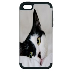 Cat Face Cute Black White Animals Apple Iphone 5 Hardshell Case (pc+silicone) by Mariart