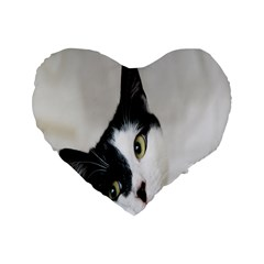 Cat Face Cute Black White Animals Standard 16  Premium Heart Shape Cushions by Mariart