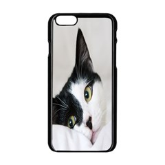Cat Face Cute Black White Animals Apple Iphone 6/6s Black Enamel Case by Mariart