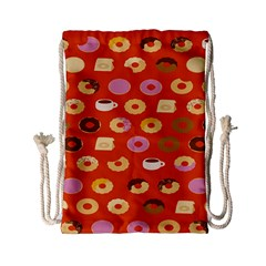 Coffee Donut Cakes Drawstring Bag (small) by Mariart