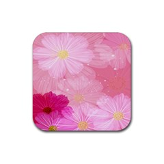 Cosmos Flower Floral Sunflower Star Pink Frame Rubber Square Coaster (4 Pack)  by Mariart