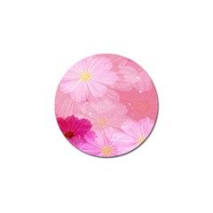 Cosmos Flower Floral Sunflower Star Pink Frame Golf Ball Marker by Mariart