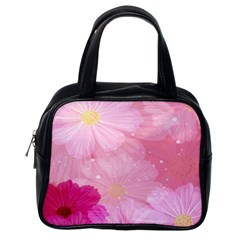 Cosmos Flower Floral Sunflower Star Pink Frame Classic Handbags (one Side) by Mariart